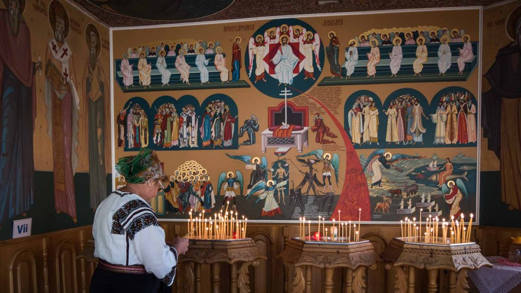 People at church service in Bucovina