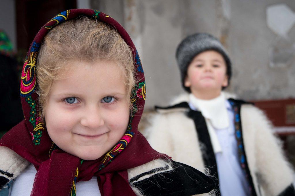 Children getting ready for caroling