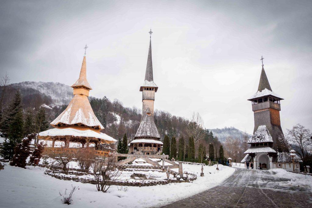Barsana Wooden Monastery in winter
