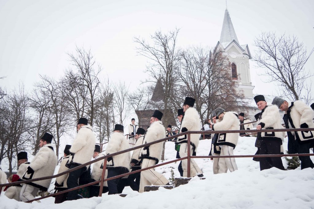 People going to church in Maramures