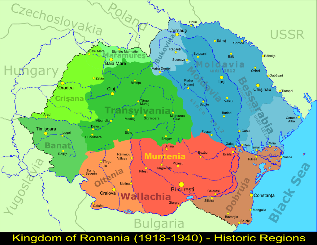 Map of Greater Romania
