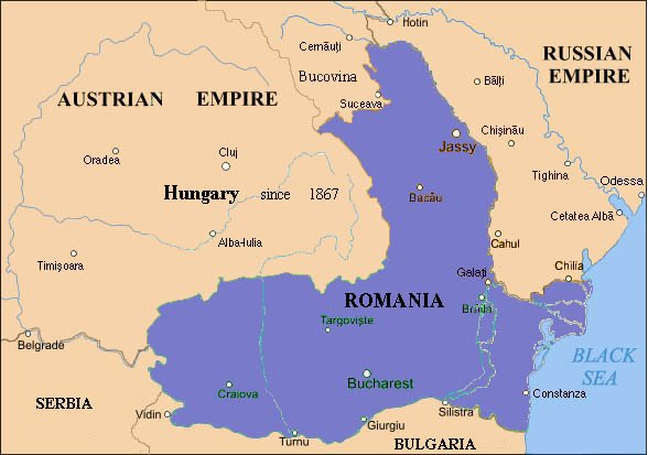 Map of Romania before the First World War