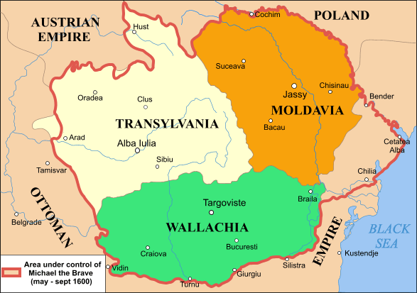 Map of Romania under Michael the Brave