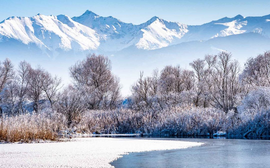 Landscape of Transylvania in winter
